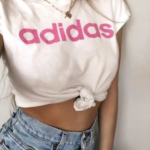 ADIDAS WHITE AND PINK FONT TEE